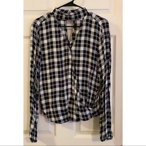 Women's Michael Kors Black & White Plaid Top
